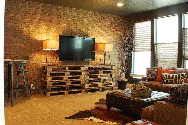 Cozy Industrial Chic Media Room