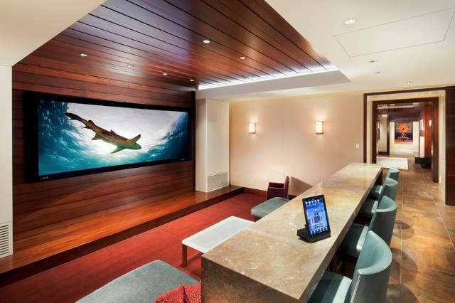 cozy private theater with hidden projector
