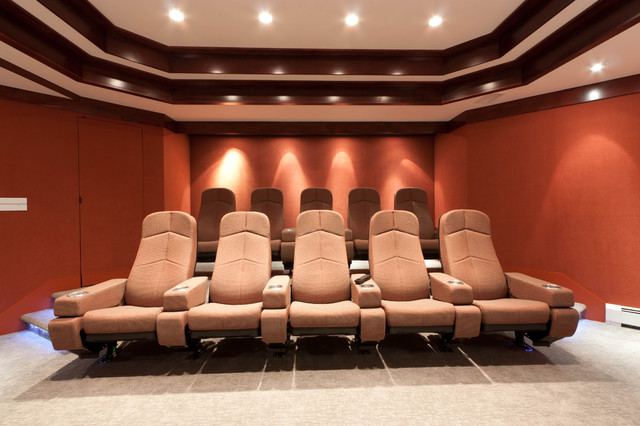 Custom Baseament for the Audiophile, the Oenophile, and the Exercise Enthusiast contemporary-home-theater
