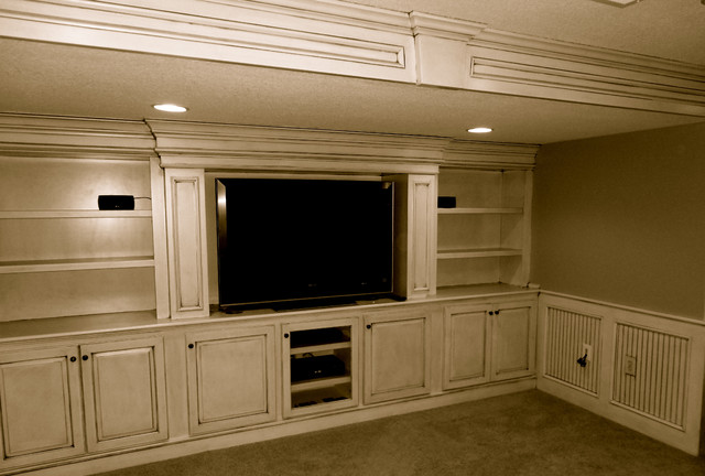 Custom Built In entertainment Center - Traditional - Home Theater - kansas city - by KC Basement ...