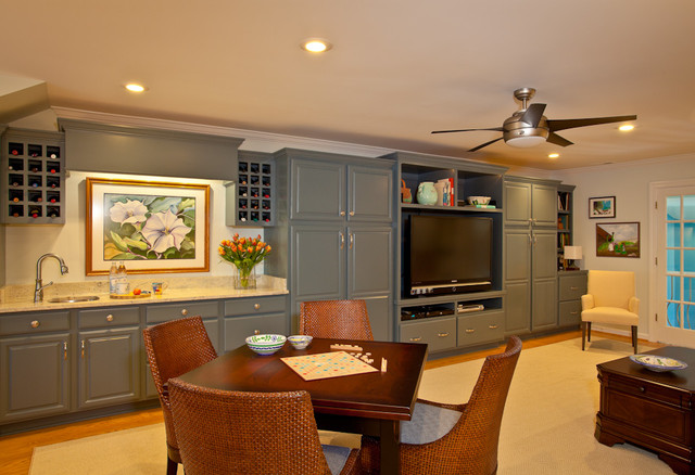 Custom cabinets were built in along one wall of this multi-purpose bonus room. - Transitional ...