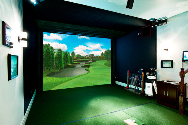 designed golf simulator room and bar home theater multimedia room