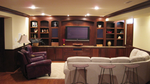 Genial Custom Home Entertainment Center And Cabinetry At Basement Traditional Home  Theater