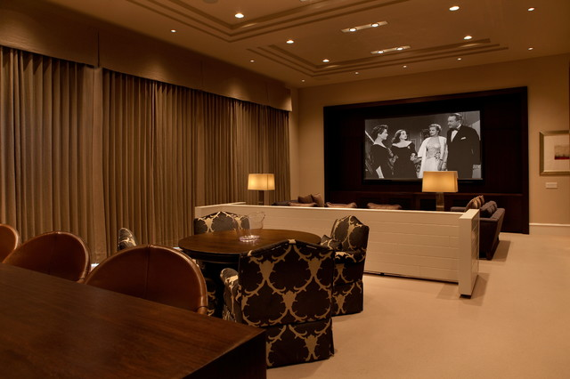 Custom Home Interior Spaces Transitional Home Theater