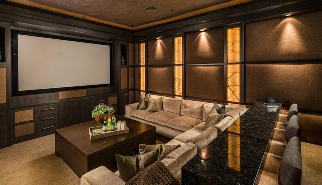 Custom Home Palm Desert Indoor Outdoor Living Contemporary Home Theatre