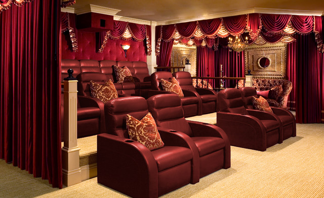 Inspiration For A Large Timeless Enclosed Carpeted Home Theater Remodel In Orange County With Red Walls