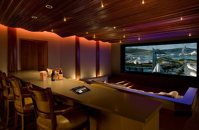 custom home theater with ipad control contemporary home theater - Custom Rooms