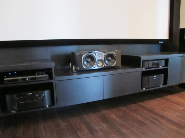 Custom Media Room / Entertainment Center With Greenfield Center (aka: Man  Cave)Contemporary Home Theater, Chicago