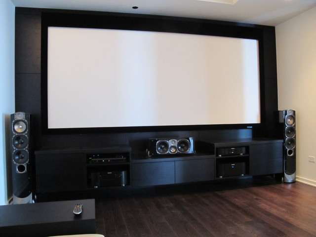 Custom media room entertainment center with greenfield Home entertainment center