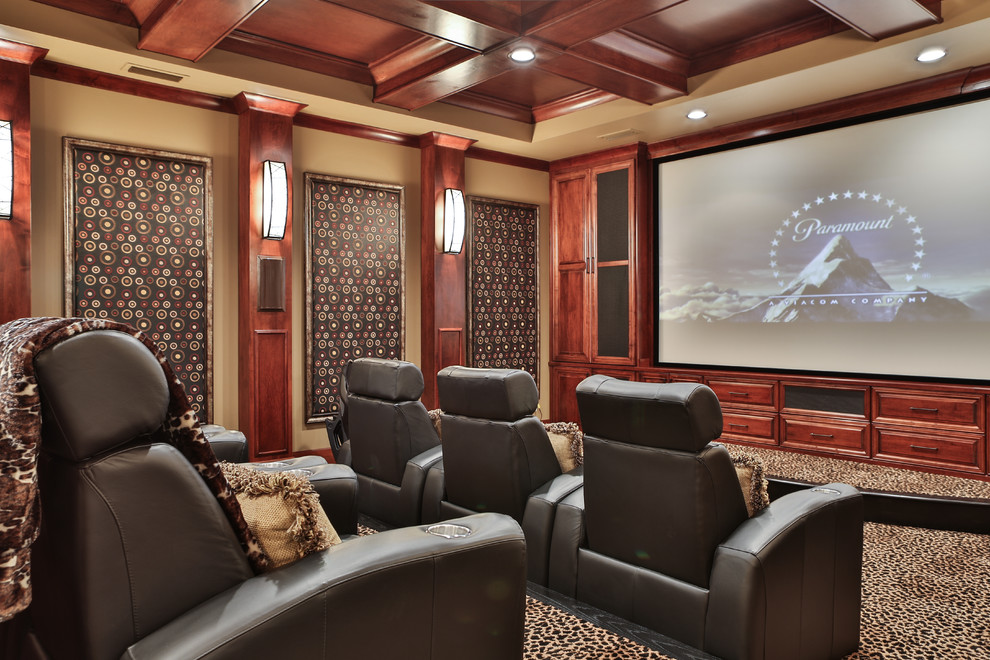 Custom Movie Theater Traditional Home Theater Miami By A Team Kitchen And Bath