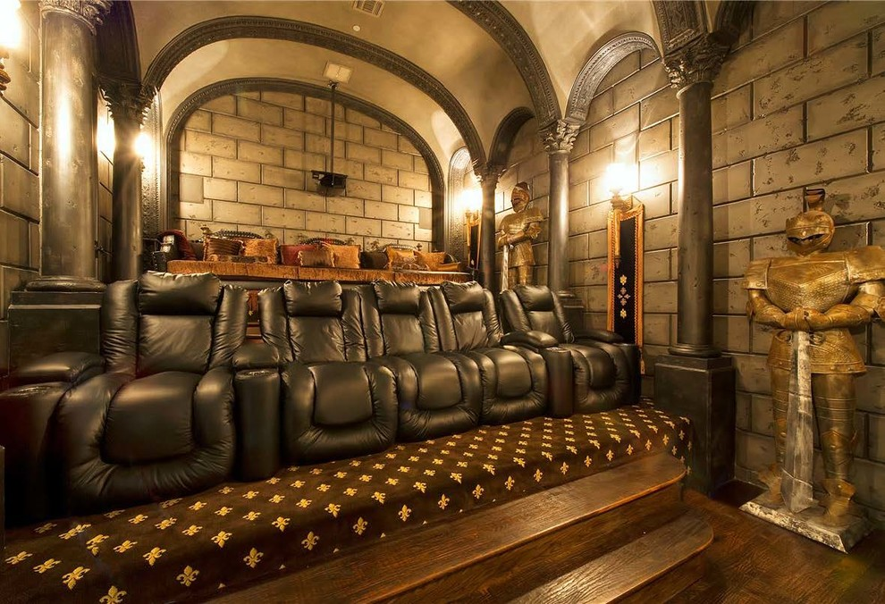 Home theater - mediterranean enclosed home theater idea in Other with a projector screen