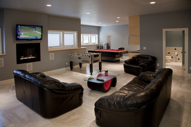 Discreetly Modern by Design modern-home-theater