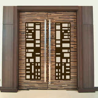 Door Insert Panels Modern Home Theater New York By