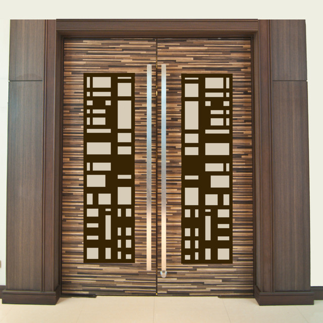 Door insert panels modern home theater new york by Grill main door design