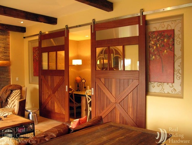 Sliding Barn Doors On Entertainment Rooms Eclectic