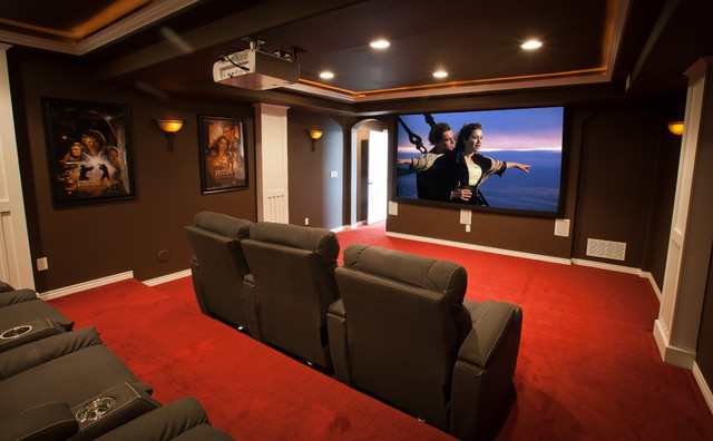 ElkStone theater in a finished basement - contemporary - home ...