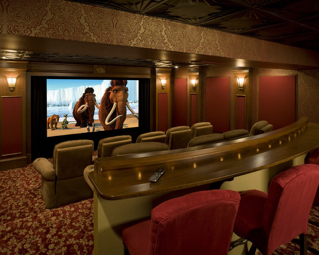 English Pub Home Theater Traditional Home Theater
