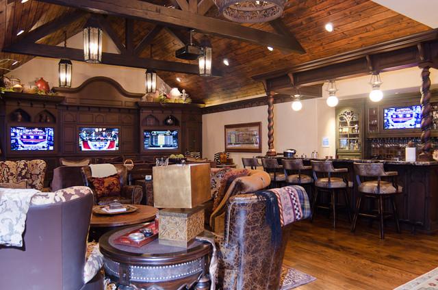 English Tudor Estate traditional-home-theater