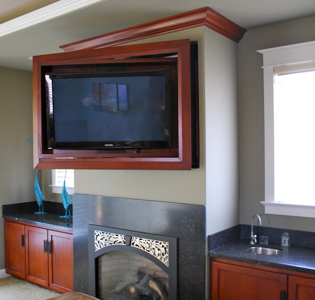 Entertainment Center With Hidden Tv Traditional Home