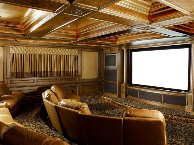 entertainment room theater contemporary home theater