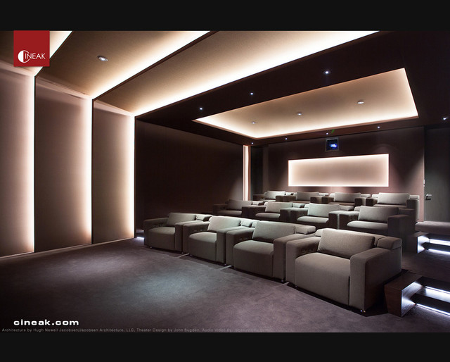 Exquisite New Media Room Featuring Cineak Strato Seats Modern Home Theater Los Angeles