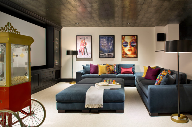 Example Of A Large Transitional Enclosed Carpeted And Beige Floor Home  Theater Design In Denver With