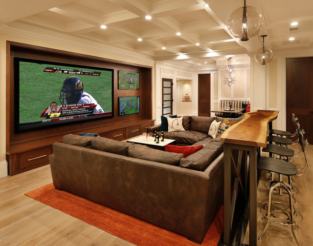 Elegant Family Room, Home Theater And Bar Traditional Home Theater
