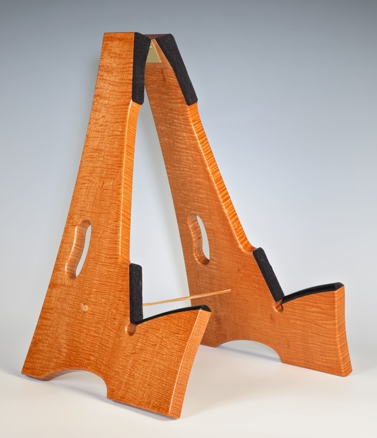 Figured Mahogany Wood guitar stand - Contemporary - Home Theater - philadelphia - by The Wood Shed