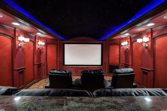 Finished basement theater for Basement theater room