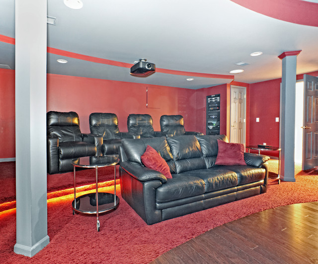finished basement theater room