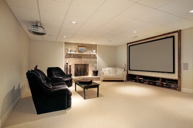 Captivating Finished Basement Carpet Transitional Home Theater Home Design Ideas