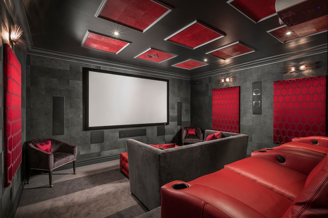 Attirant Inspiration For A Large Contemporary Enclosed Carpeted And Gray Floor Home  Theater Remodel In Phoenix With. Save Photo. Chris Jovanelly Interior Design