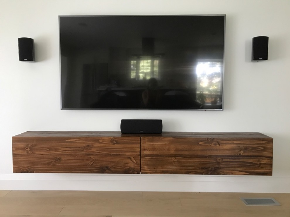 floating tv console with 2 felt lined drawers modern home theater phvw vp