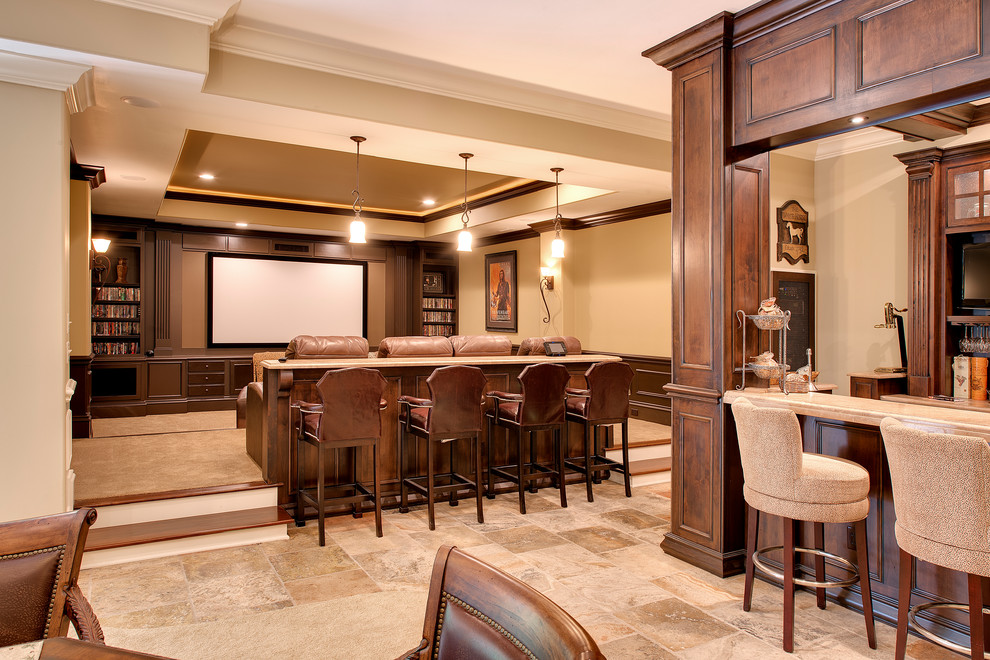 Inspiration for a mid-sized timeless enclosed carpeted home theater remodel in Indianapolis with beige walls and a wall-mounted tv