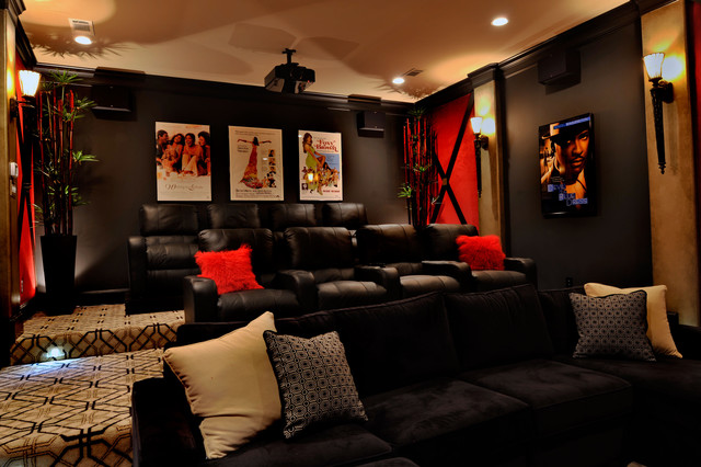 Charming Fort Bend Classic Transitional Home Theater