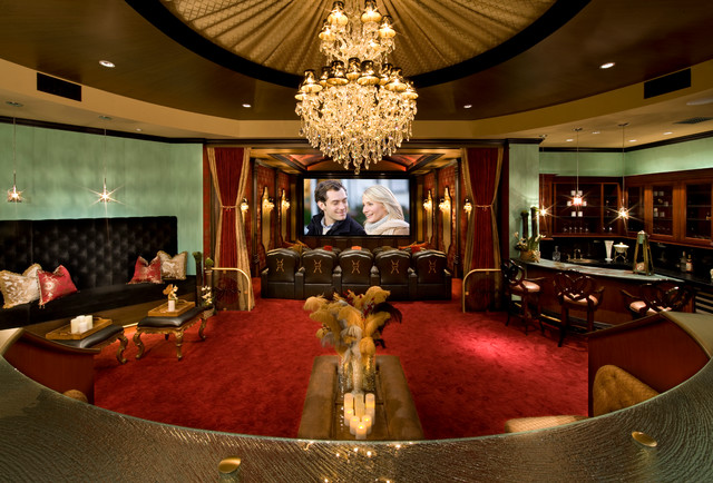 French Style Custom Estate Featured On HGTV Traditional Home Theater