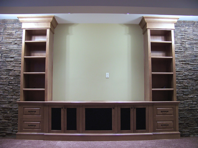 Front projection media cabinets - Traditional - Home Theater - calgary - by Kniss Custom Woodwork