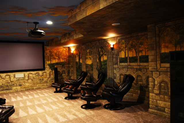game of thrones home theater mural by tom taylor of wow effects in virginia eclectic home. Black Bedroom Furniture Sets. Home Design Ideas