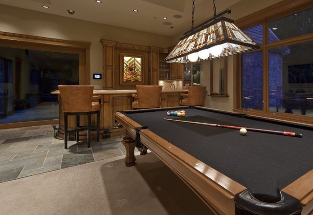 Game room bar traditional home theater seattle for Pool design game