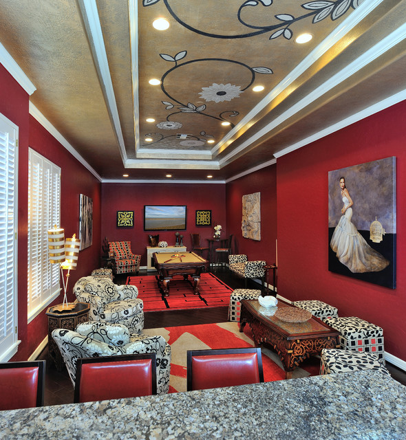 Game Room Furniture Ceiling Art And Accessories Traditional Home Theater Houston By