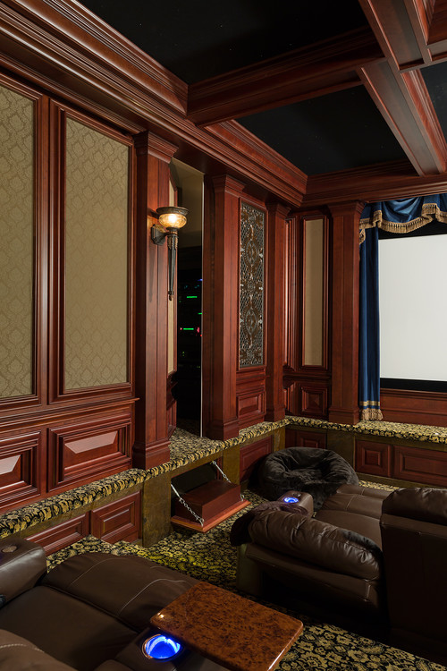 Wall Panels In This Gorgeous Home Theater Is Actually A Doorway To Another Room The Lower Panel Even Flips Down Offer Step Up Into Pageway