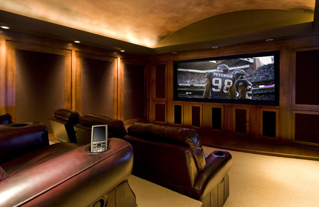 Wonderful Example Of A Large Classic Enclosed Carpeted Home Theater Design In Portland