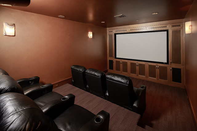 Gingham contemporary-home-theater