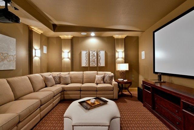 Glamorous Media Room In Dallas, TX Traditional Home Theater