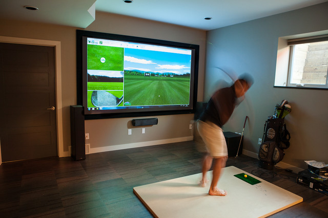 Golf simulator contemporary home theater edmonton for Room remodel simulator