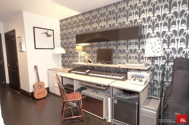 Gramercy loft Music studio - Eclectic - Home Theater - New York - by Marie Burgos Design