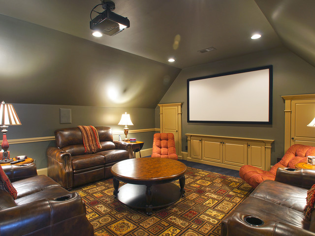 Greensboro Residence traditional-home-theater
