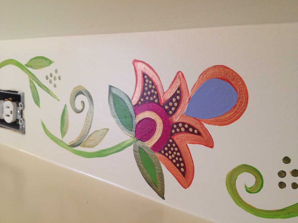 Hand Painted Floral Motif in a Bonus Room