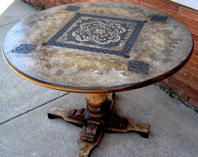 Hand Painted Pedestal Table For Sale Eclectic Home Theatre