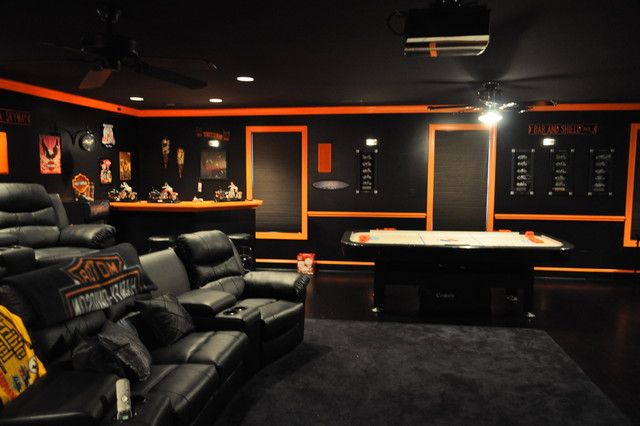 garage themed room ideas - Harley Davidson Themed Theater